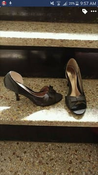 pair of black open-toe ankle strap heels Montreal
