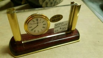 Brass and Glass Desk Top Clock & Business Card