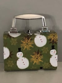 "Cute Christmas case with toggle clasp.  4 1/2"" high X 6"" Wide"