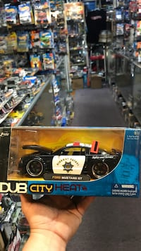 black and white Dub City Heat Ford Mustang GT coupe diecast model box Whittier, 90602