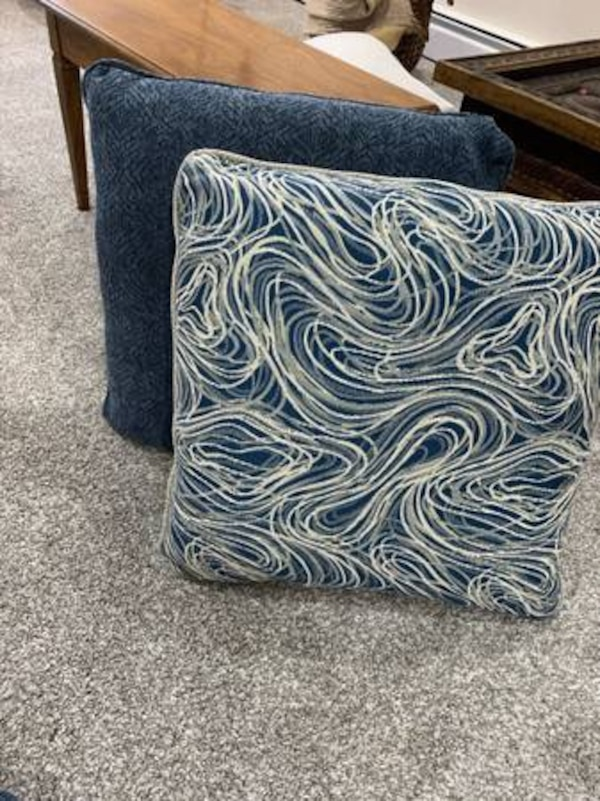 Blue and grey/beige couch pillows