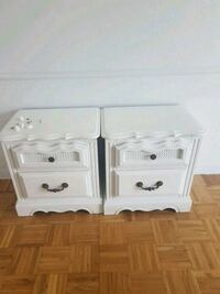 two white wooden 2-drawer nightstands Saint-Zotique, J0P 1Z0
