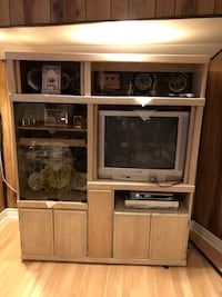 Gray crt tv with brown wooden tv hutch Montréal, H4M 2K7