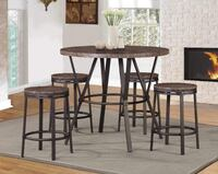 Brand New!! 5 Pieces Brown Laminate Wood & Metal Laminate Wood Veneer Top and Metal Finish Frame Counter Height Set 7877-BR-5PC Huntington Beach