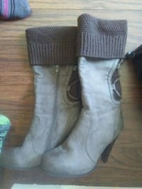 pair of gray suede side-zip booties