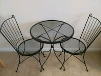 round black metal patio table with two chairs Fairfax, 22033