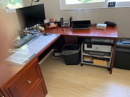 Desk, credenza and two filing cabinets DANISH