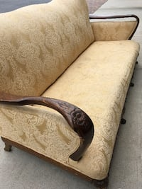 brown and beige floral fabric loveseat KENNESAW