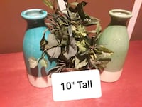 """10"""" two grey and teal ceramic vases 374 mi"""