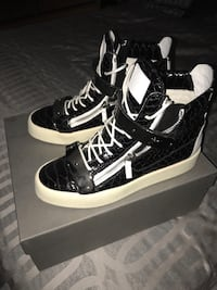Black leather quilted high top sneakers with box