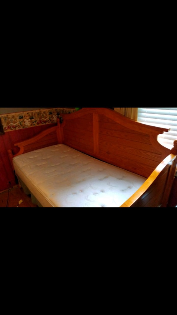 Twin Hardwood Bed with Mattress