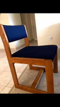 Brown wooden frame blue padded chair Watertown, 02472