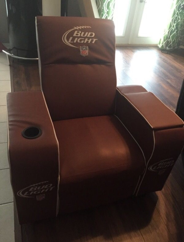 Charmant Bud Light Brown Leather Recliner Chair