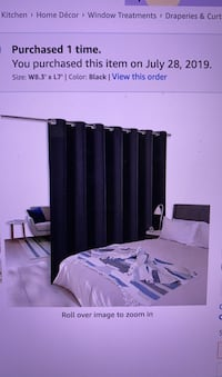 """Black Curtain 8'3"""" Wide by 7' Tall Room Divider Screen Wide Width"""