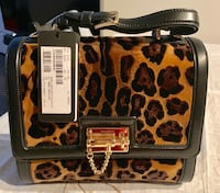 brown and black leopard print leather handbag New York, 10038