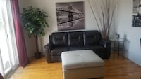 Black leather 3-seat sofa with white footrest Laval, H7M 2Y6