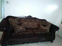 3 piece sofas..brown and gold