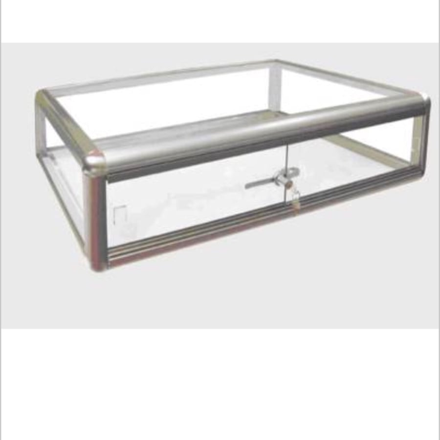 Rectangular clear glass case with lock