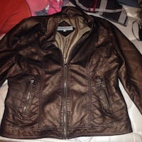 Copper leather jacket 50 alone or 75 with fur stole