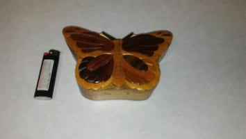 Carved hardwood puzzle/trinket butterfly box