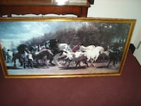 painting of horses with gold frame OAKVILLE