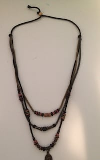Unisex Brown Braided Rope Necklace Chain with Pendulum Richmond