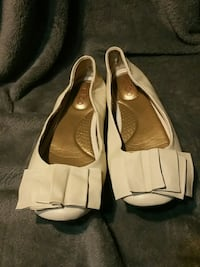 White leatherish flats