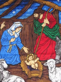 CHRISTMAS Nativity Scene 100% Cotton Material BRAMPTON