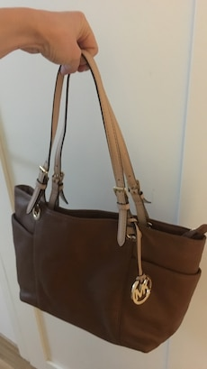 Michael Kors brunt skinn tote bag