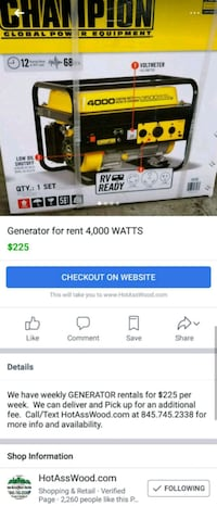 Generators for rent 1 week for $225 Wappingers Falls, 12590