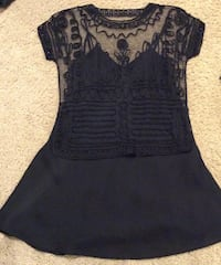 women's black sleeveless dress with black see-through embroidered top