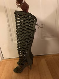 Like new Army green  suede  like heels. Cash Only!  ALEXANDRIA