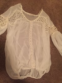 white chiffon long-sleeved blouse null, T1S 0X0