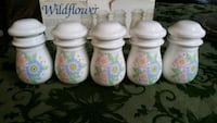Vintage 5 pc Spice Jar Set / Ceramic Wildflower Beltsville