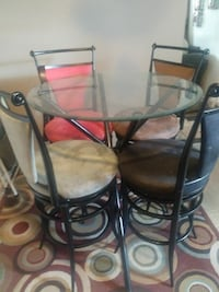 black steel framed round dining glass table top set Lowell, 01852