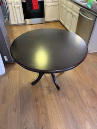 Espresso finish, round, wood, dining table