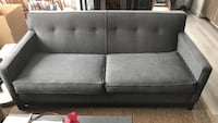 Grey & blue fabric sofa couch