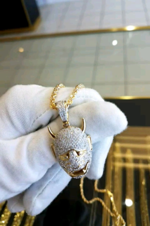 """10k real gold 24"""" rope chain with diamond pendant"""