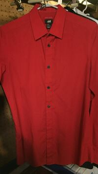 red button-up long-sleeved polo shirt