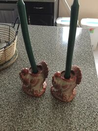 two brown turkey ceramic candlestick stands and two green candlestick candles New Westminster, V3L 2W6