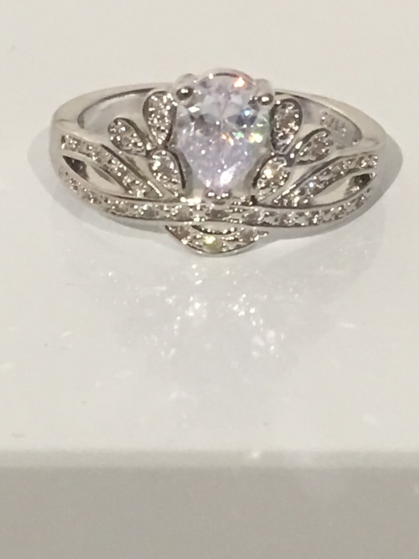 White Shire 925 Stamped Crown Shaped Silver Wedding Ring Size 10 For Awesome Price