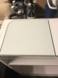 Glass shelves and sise panels c/w required hardware to assemble shelving unit Surrey, V3V 7L9