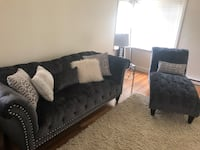 Charcoal grey suede sofa & chaise with throw pillows Portland, 97213