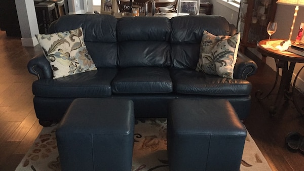 Navy blue leather 3-seat sofa with 2 ottomans