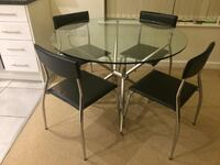 4 Seater Round Dining Glass Table Isleworth