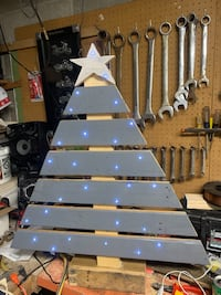 Hand made pallet wood lighted tree