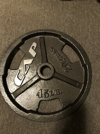 45 lb Olympic plate. 2 available. 1 for 30 and 2 for 50$