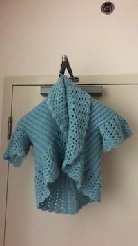 Women's blue knitted poncho 1/2 cut Vancouver, V6A 1K2