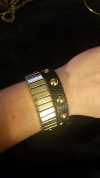 Gold and black leather wrap bracelet Tysons, 22102