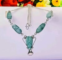 New silver and green gemstone pendant necklace Montreal, H8T
